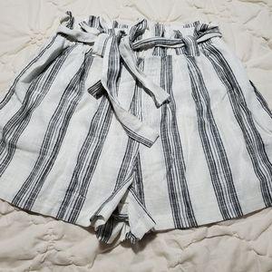 Large linen blend paper bag shorts